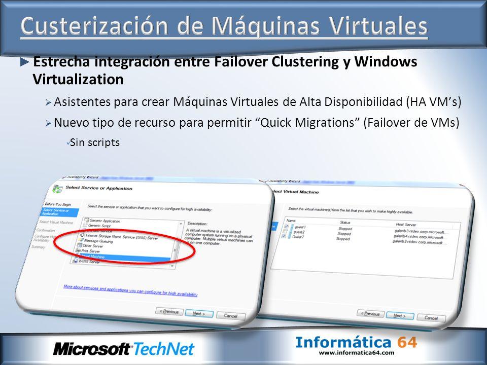 Estrecha integración entre Failover Clustering y Windows Virtualization Asistentes para crear Máquinas Virtuales de Alta Disponibilidad (HA VMs) Nuevo