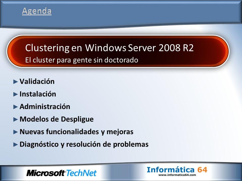 En Windows Server 2008 R2 los eventos no se replican continuamente entre los nodos Dentro de la MMC Se pueden hacer consultas de los Cluster Events de todos los nodos Se pueden examinar todos los errores y warnings de las últimas 24 horas En el panel de acciones existen filtros personalizados para ver eventos específicos de un grupo o de un recurso
