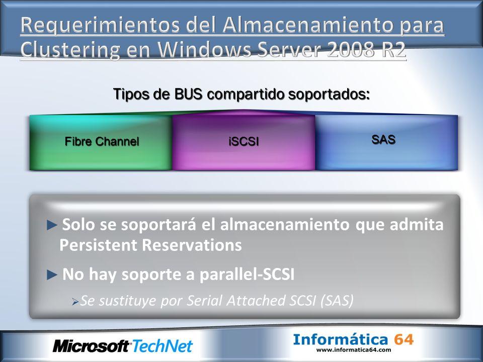 Solo se soportará el almacenamiento que admita Persistent Reservations No hay soporte a parallel-SCSI Se sustituye por Serial Attached SCSI (SAS) Fibr