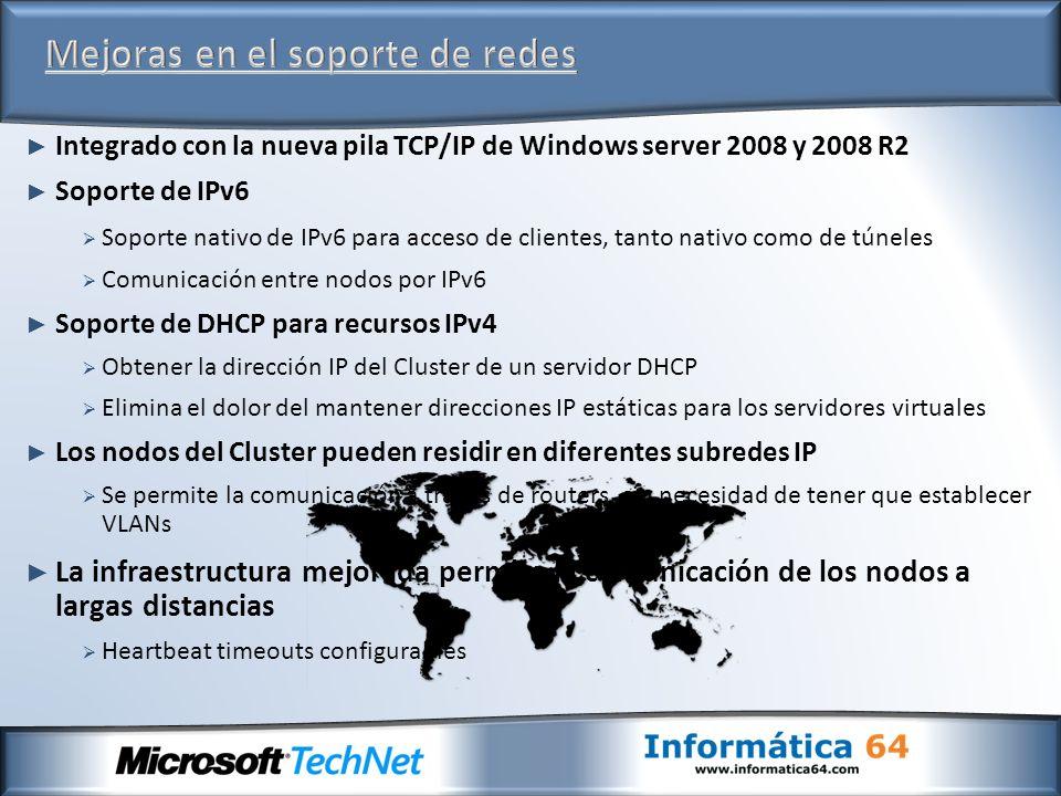 Integrado con la nueva pila TCP/IP de Windows server 2008 y 2008 R2 Soporte de IPv6 Soporte nativo de IPv6 para acceso de clientes, tanto nativo como