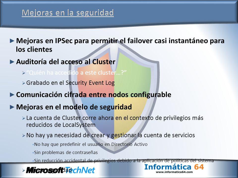 Mejoras en IPSec para permitir el failover casi instantáneo para los clientes Auditoría del acceso al Cluster Quién ha accedido a este cluster…? Graba
