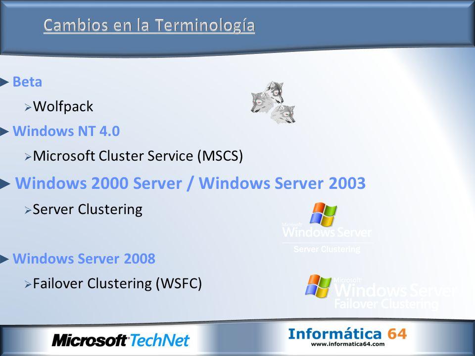 Línea de comandos (cluster.exe) Cluster Management Console Totalmente Scriptable con WMI Mejor Experiencia de Administración Ofrece las opciones avanzadas Orientado a Tareas Automatización Cluster MOM Management Pack