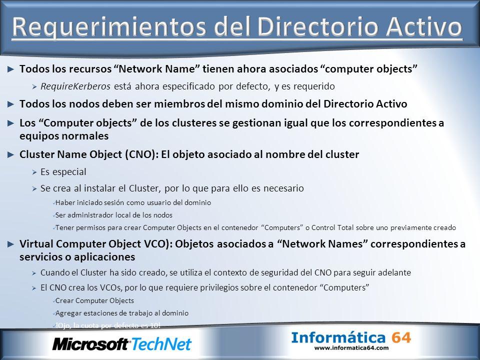 Todos los recursos Network Name tienen ahora asociados computer objects RequireKerberos está ahora especificado por defecto, y es requerido Todos los