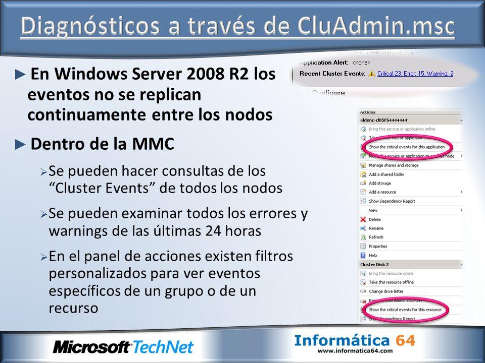 En Windows Server 2008 R2 los eventos no se replican continuamente entre los nodos Dentro de la MMC Se pueden hacer consultas de los Cluster Events de