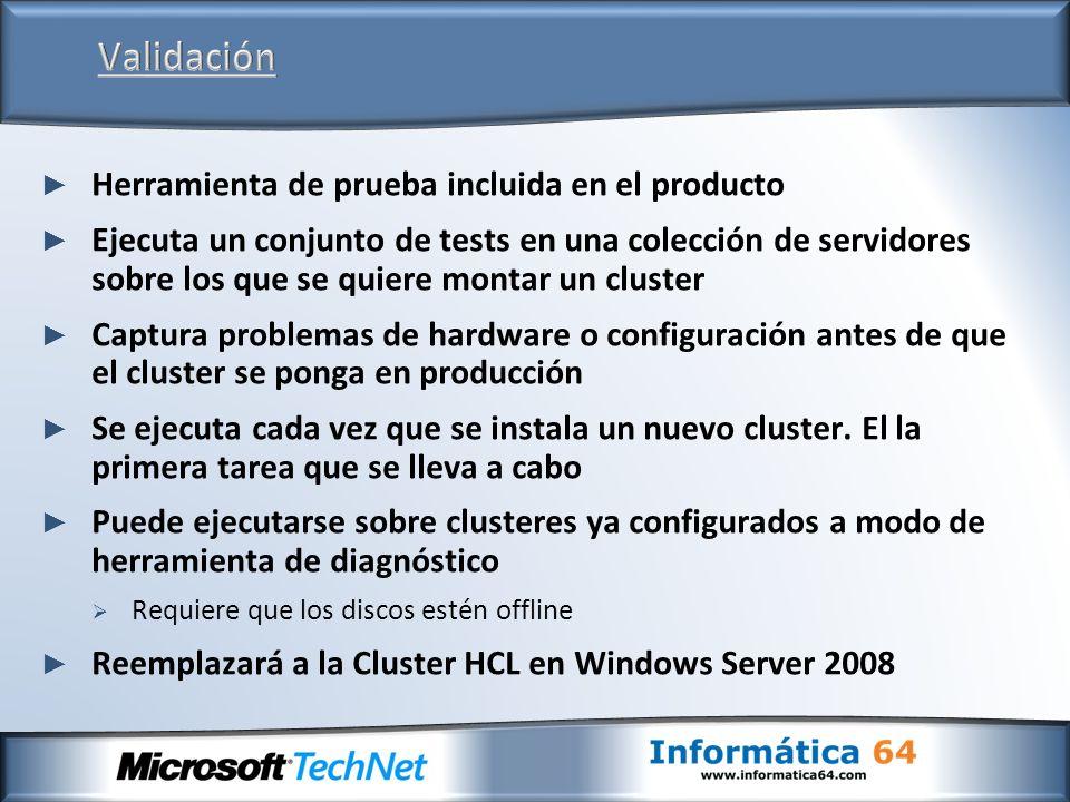 Problemas de configuración Errores de cableado Diferentes binarios, Service Packs y Parches Problemas de Drivers e inconsistencias de versiones entre nodos Configuración inconsistente Complejidad Practicas recomendades Requerimientos de soportabilidad Compatibilidad del Hardware La eliminación de estos problemas garantiza una correcta experiencia con la instalación, despliegue, operaciones y soporte de las tecnologías de clusterización El 48% de las llamadas a soporte se deben a problemas de configuración -Microsoft PSS El 80% de los fallos son achacables a errores humanos -Gartner