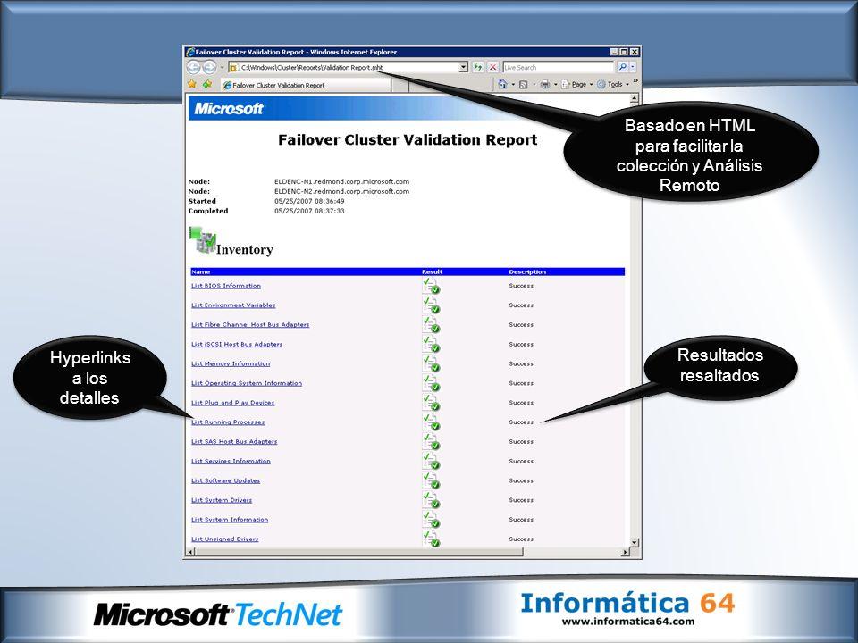 Hyperlinks a los detalles Basado en HTML para facilitar la colección y Análisis Remoto Resultados resaltados