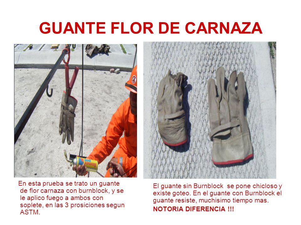 GUANTE FLOR DE CARNAZA En esta prueba se trato un guante de flor carnaza con burnblock, y se le aplico fuego a ambos con soplete, en las 3 prosiciones