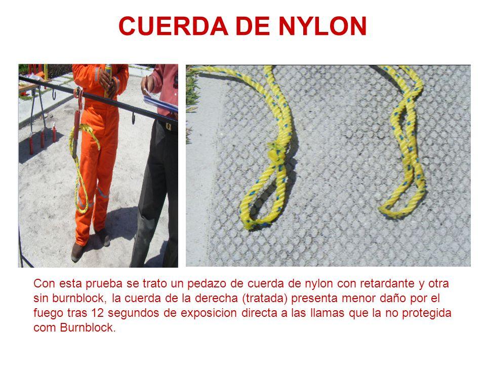 CUERDA DE NYLON Con esta prueba se trato un pedazo de cuerda de nylon con retardante y otra sin burnblock, la cuerda de la derecha (tratada) presenta