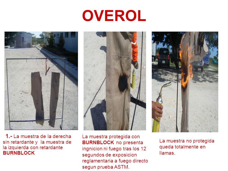 OVEROL 1.- La muestra de la derecha sin retardante y la muestra de la izquierda con retardante BURNBLOCK La muestra protegida con BURNBLOCK no present