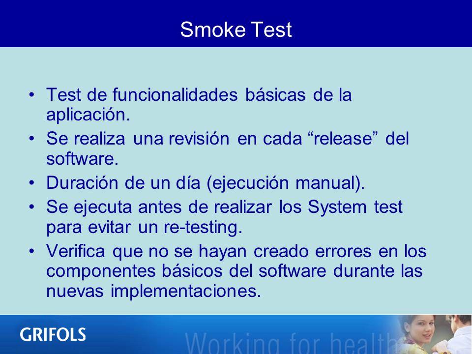 Smoke Test Test de funcionalidades básicas de la aplicación. Se realiza una revisión en cada release del software. Duración de un día (ejecución manua