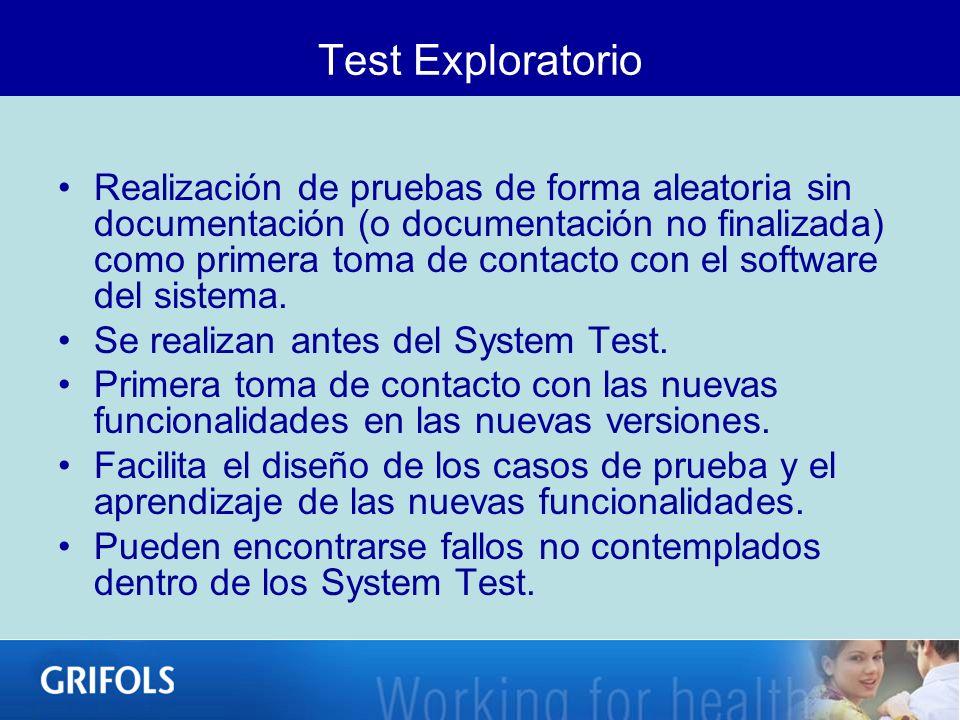 Test Exploratorio Realización de pruebas de forma aleatoria sin documentación (o documentación no finalizada) como primera toma de contacto con el sof