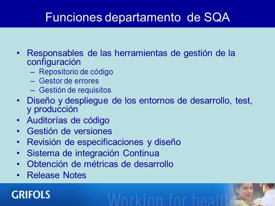 Funciones departamento de SQA Responsables de las herramientas de gestión de la configuración –Repositorio de código –Gestor de errores –Gestión de re