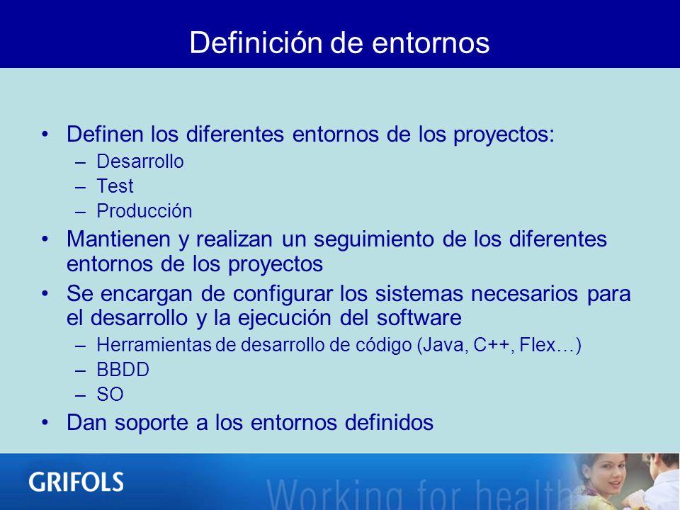 Definición de entornos Definen los diferentes entornos de los proyectos: –Desarrollo –Test –Producción Mantienen y realizan un seguimiento de los dife