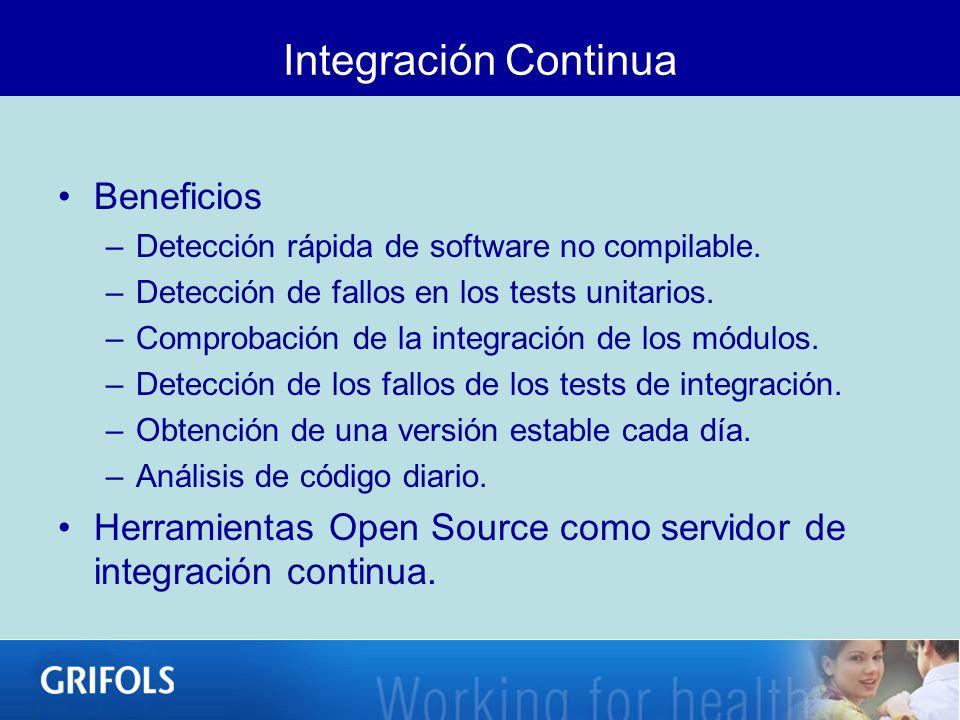 Beneficios –Detección rápida de software no compilable. –Detección de fallos en los tests unitarios. –Comprobación de la integración de los módulos. –