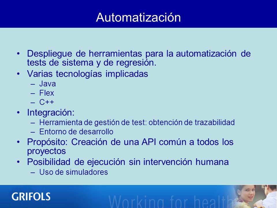 Automatización Despliegue de herramientas para la automatización de tests de sistema y de regresión. Varias tecnologías implicadas –Java –Flex –C++ In