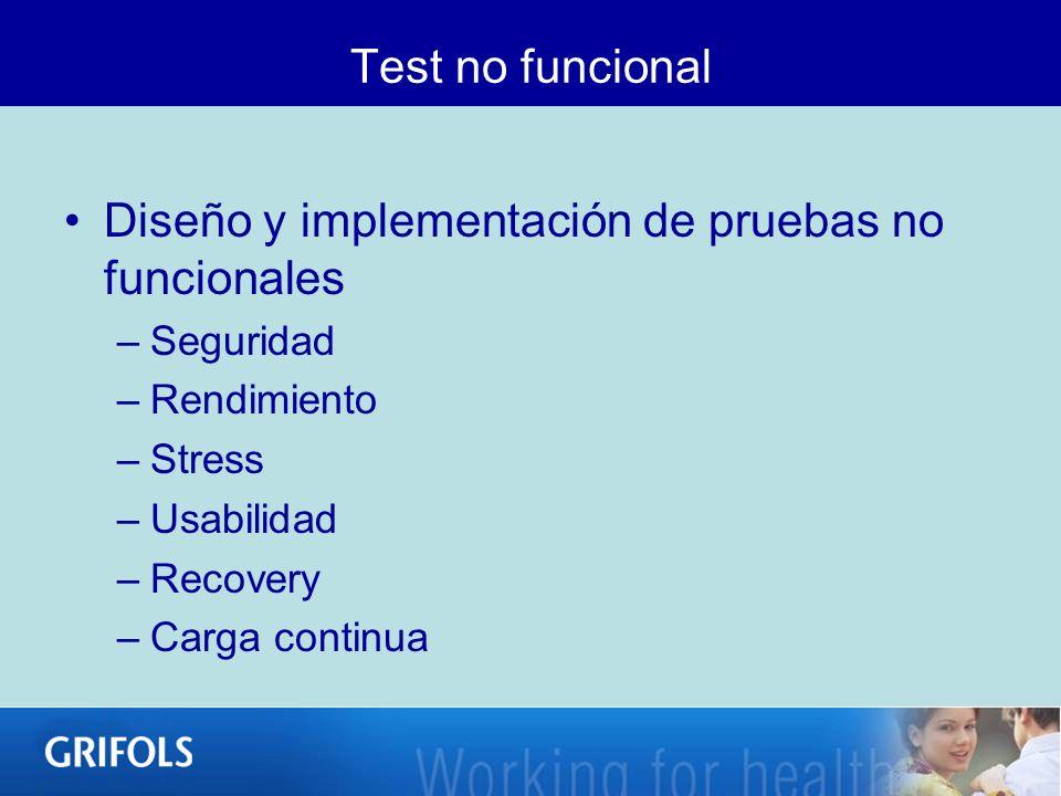 Test no funcional Diseño y implementación de pruebas no funcionales –Seguridad –Rendimiento –Stress –Usabilidad –Recovery –Carga continua