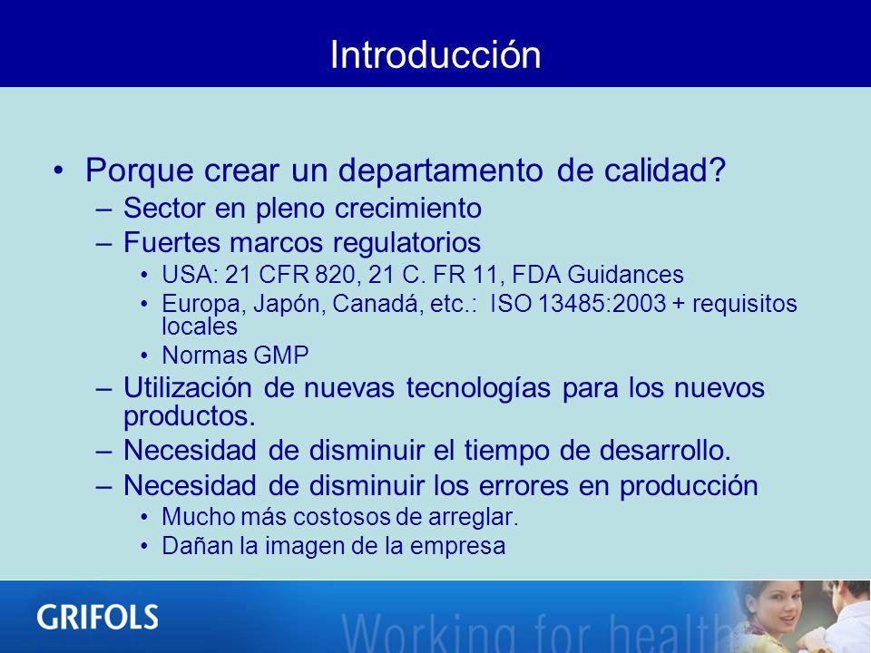 Introducción Porque crear un departamento de calidad? –Sector en pleno crecimiento –Fuertes marcos regulatorios USA: 21 CFR 820, 21 C. FR 11, FDA Guid