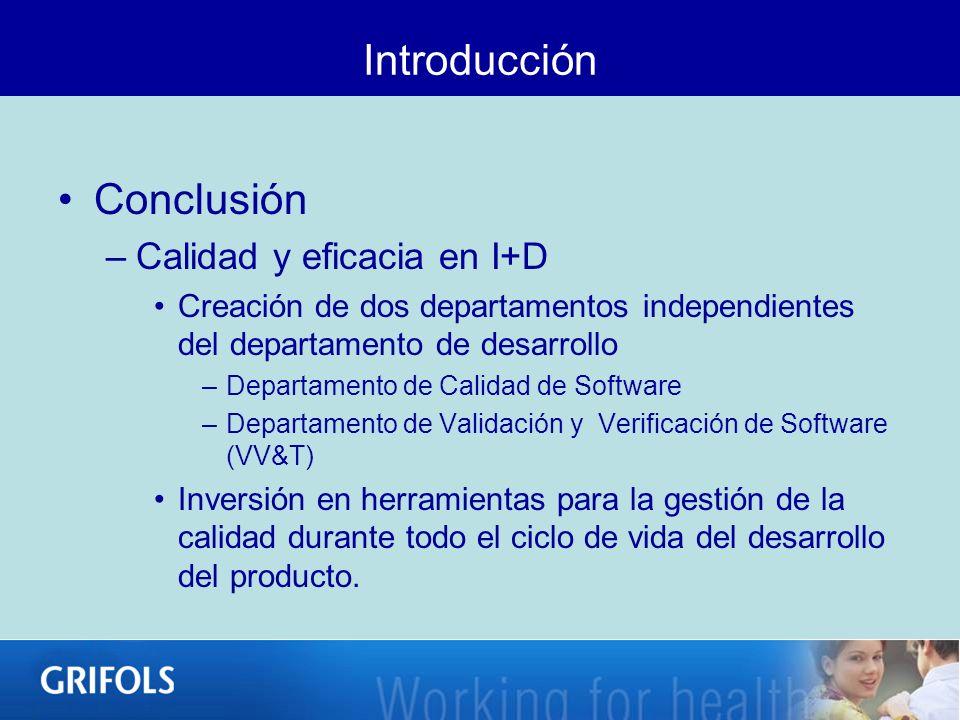 Introducción Conclusión –Calidad y eficacia en I+D Creación de dos departamentos independientes del departamento de desarrollo –Departamento de Calida