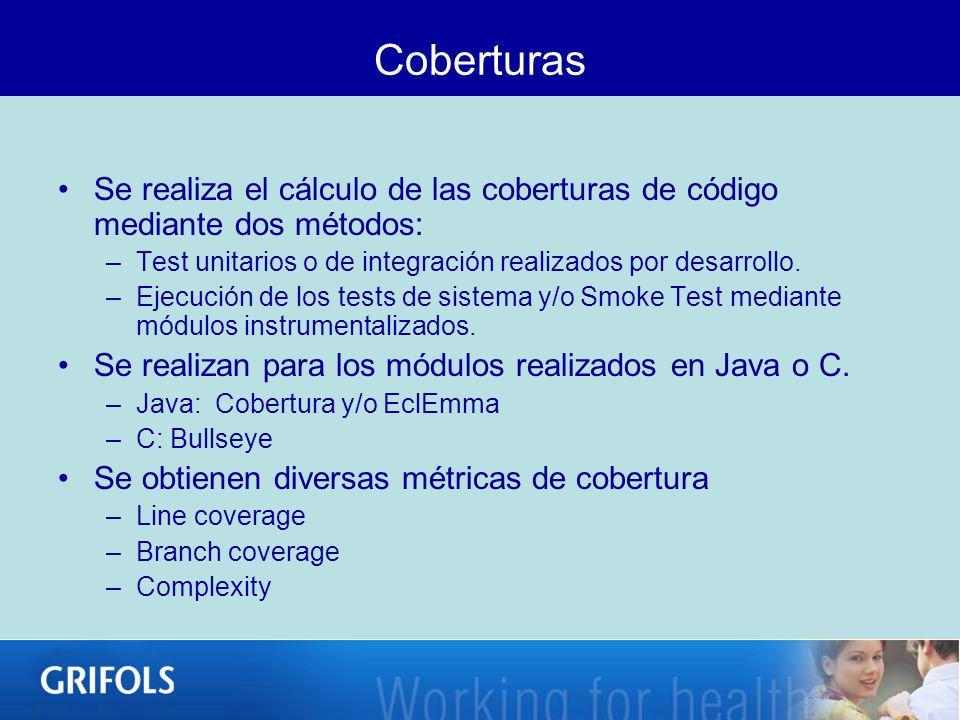 Coberturas Se realiza el cálculo de las coberturas de código mediante dos métodos: –Test unitarios o de integración realizados por desarrollo. –Ejecuc