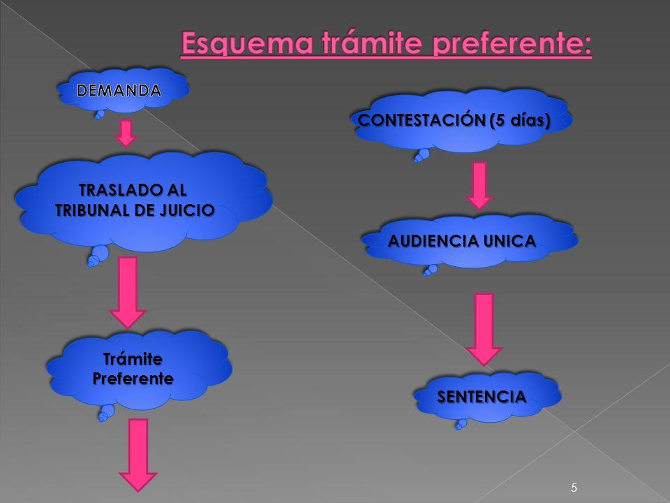 TRASLADO AL TRIBUNAL DE JUICIO TRASLADO AL TRIBUNAL DE JUICIO CONTESTACIÓN (5 días) AUDIENCIA UNICA SENTENCIASENTENCIA TrámitePreferenteTrámitePreferente 5