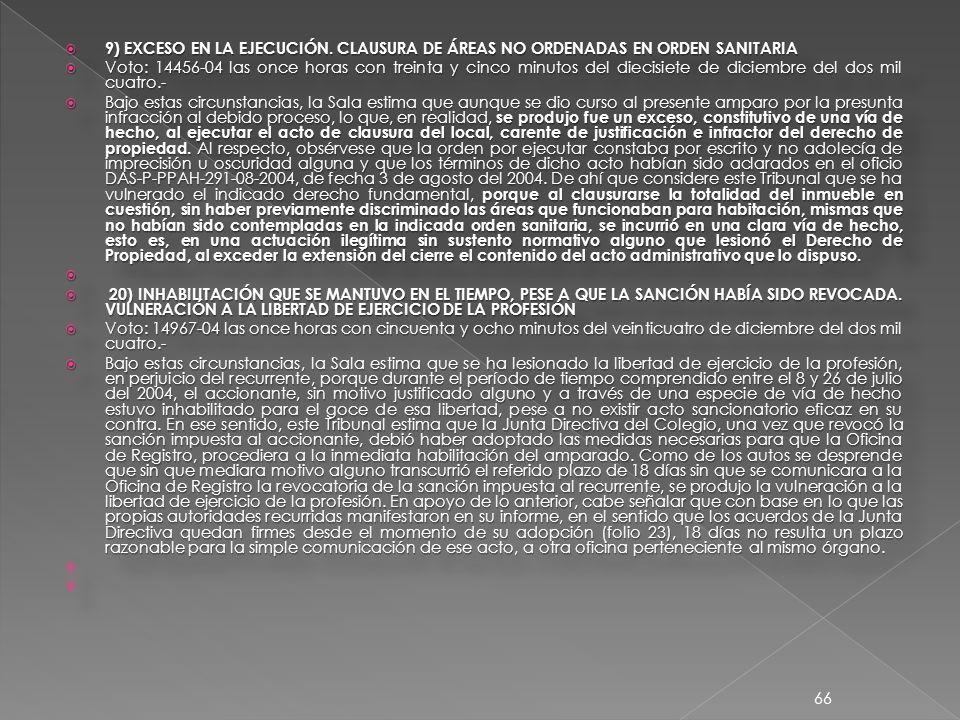 9) EXCESO EN LA EJECUCIÓN.