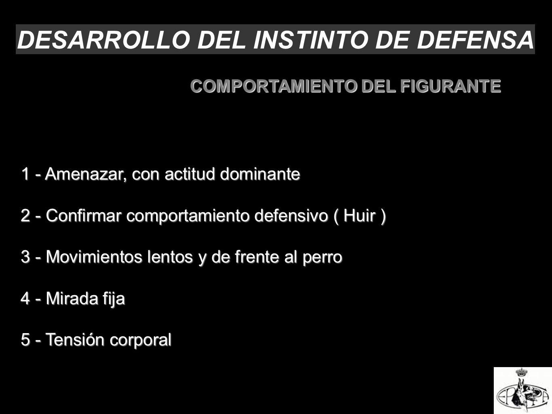 DESARROLLO DEL INSTINTO DE DEFENSA 1 - Amenazar, con actitud dominante 2 - Confirmar comportamiento defensivo ( Huir ) 3 - Movimientos lentos y de fre