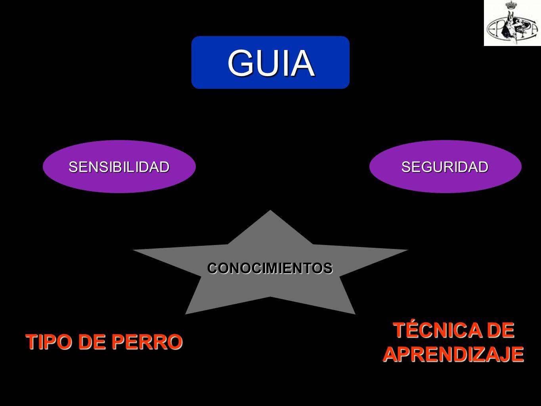 GUIA SENSIBILIDADSEGURIDAD CONOCIMIENTOS TÉCNICA DE APRENDIZAJE TIPO DE PERRO