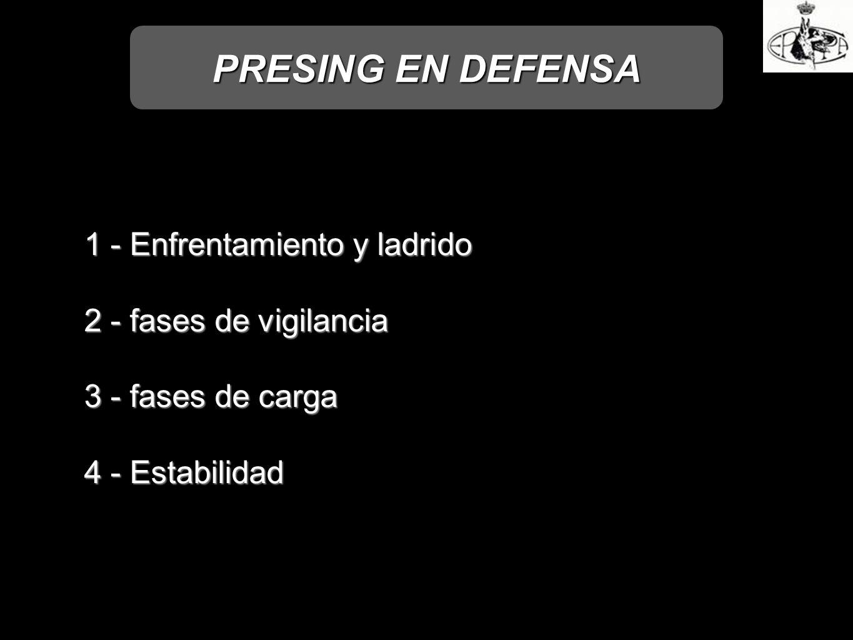 PRESING EN DEFENSA 1 - Enfrentamiento y ladrido 2 - fases de vigilancia 3 - fases de carga 4 - Estabilidad