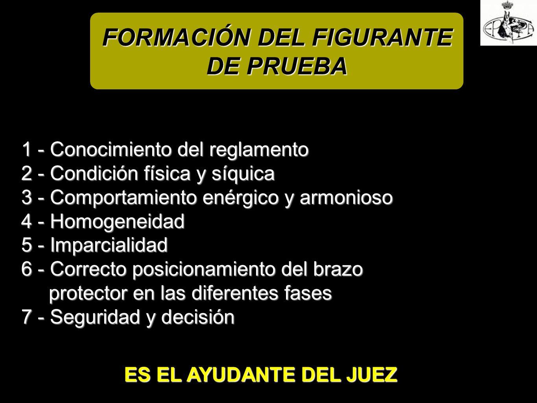FORMACIÓN DEL FIGURANTE DE PRUEBA 1 - Conocimiento del reglamento 2 - Condición física y síquica 3 - Comportamiento enérgico y armonioso 4 - Homogenei