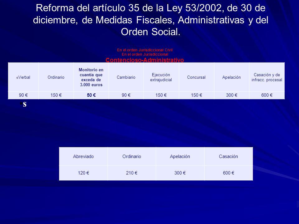 s Reforma del artículo 35 de la Ley 53/2002, de 30 de diciembre, de Medidas Fiscales, Administrativas y del Orden Social.
