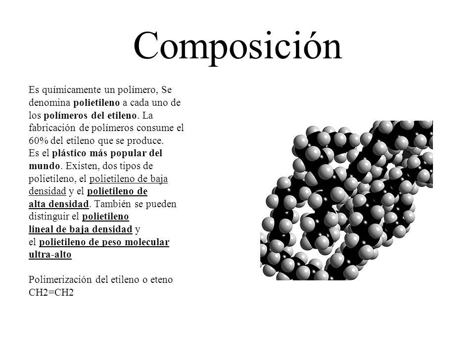 Composición Es químicamente un polímero, Se denomina polietileno a cada uno de los polímeros del etileno. La fabricación de polímeros consume el 60% d
