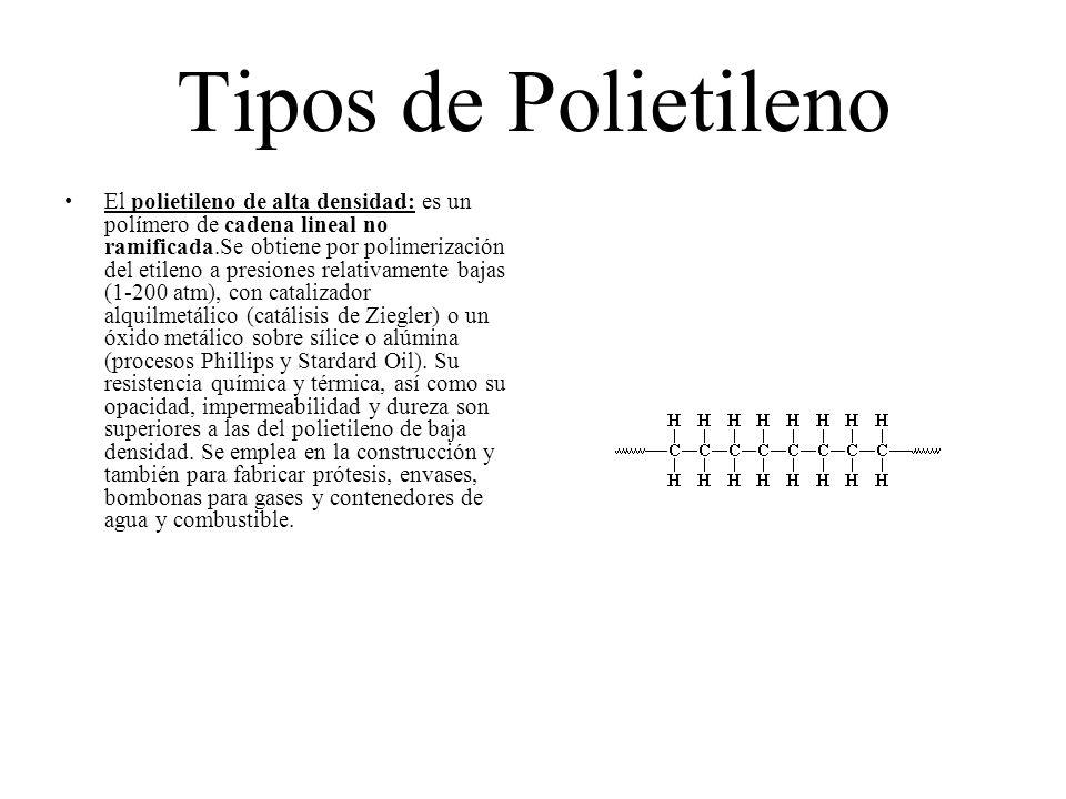 Tipos de Polietileno El polietileno de alta densidad: es un polímero de cadena lineal no ramificada.Se obtiene por polimerización del etileno a presio