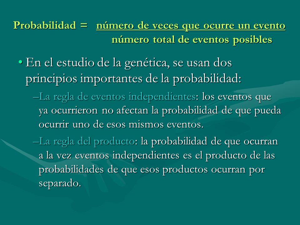 Probabilidad = número de veces que ocurre un evento número total de eventos posibles En el estudio de la genética, se usan dos principios importantes
