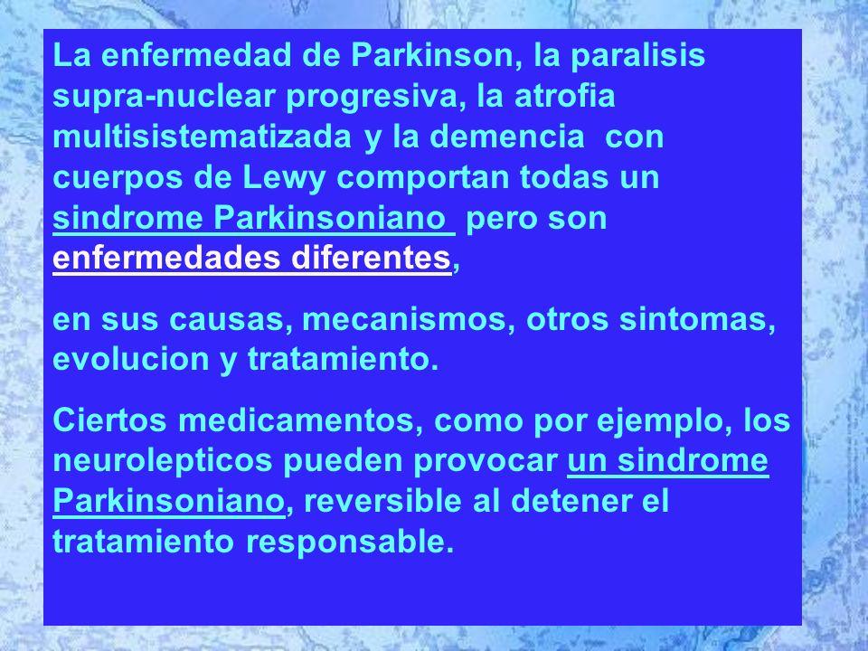 Addendum La enfermedad de Parkinson, la paralisis supra-nuclear progresiva, la atrofia multisistematizada y la demencia con cuerpos de Lewy comportan todas un sindrome Parkinsoniano pero son enfermedades diferentes, en sus causas, mecanismos, otros sintomas, evolucion y tratamiento.