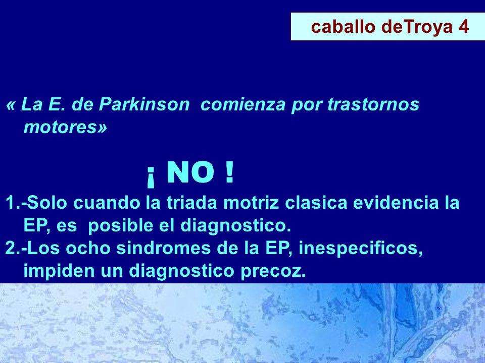 CLINICA « La E. de Parkinson comienza por trastornos motores» ¡ NO .