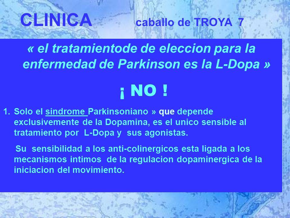 « el tratamientode de eleccion para la enfermedad de Parkinson es la L-Dopa » ¡ NO .