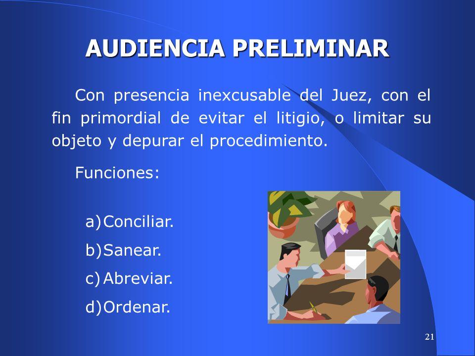 20 PROCESO POR AUDIENCIAS Arts. 361 y 368 Se prevé el desarrollo de los procesos de conocimiento en dos audiencias principales. AUDIENCIA PRELIMINAR A