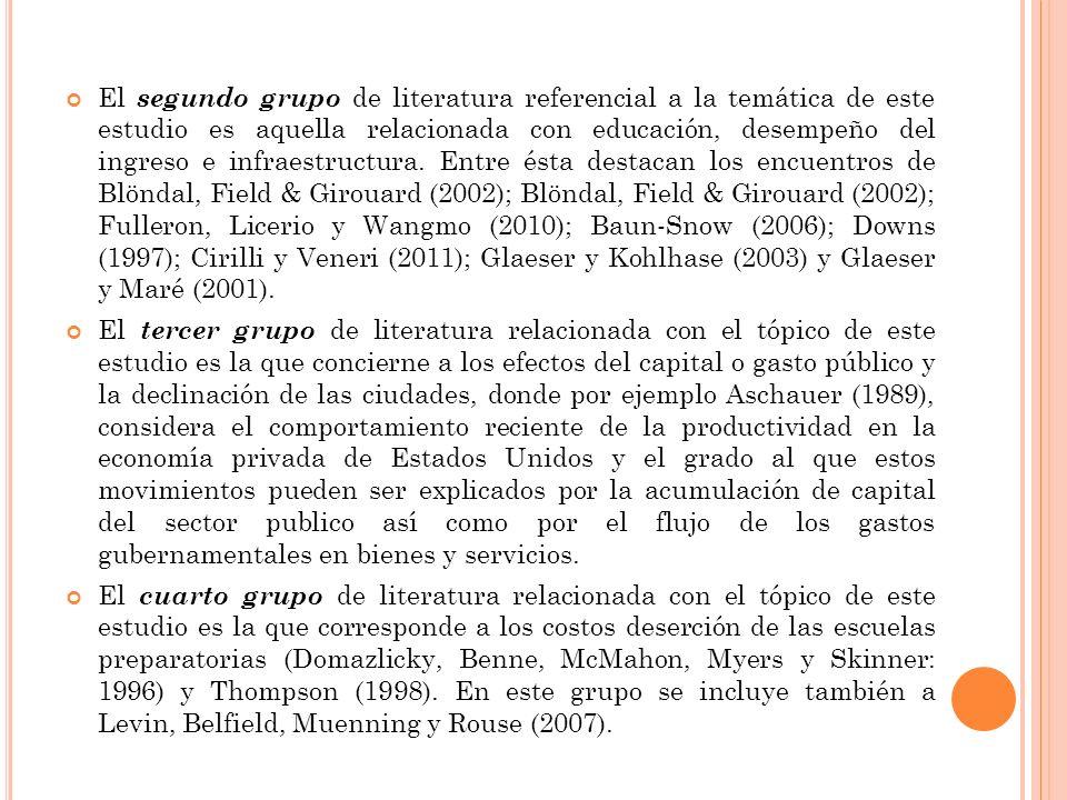 El segundo grupo de literatura referencial a la temática de este estudio es aquella relacionada con educación, desempeño del ingreso e infraestructura.