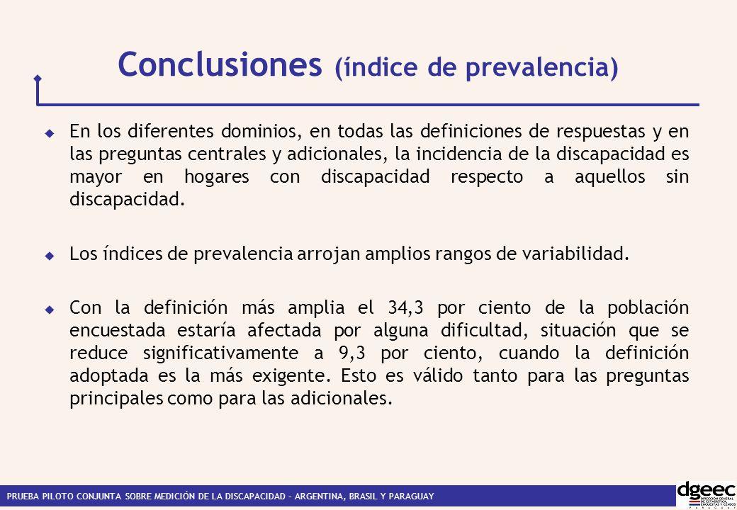 PRUEBA PILOTO CONJUNTA SOBRE MEDICIÓN DE LA DISCAPACIDAD – ARGENTINA, BRASIL Y PARAGUAY Conclusiones (índice de prevalencia) En los diferentes dominios, en todas las definiciones de respuestas y en las preguntas centrales y adicionales, la incidencia de la discapacidad es mayor en hogares con discapacidad respecto a aquellos sin discapacidad.