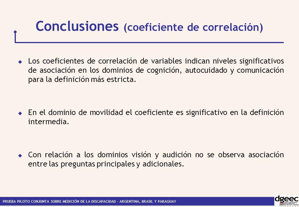 PRUEBA PILOTO CONJUNTA SOBRE MEDICIÓN DE LA DISCAPACIDAD – ARGENTINA, BRASIL Y PARAGUAY Conclusiones (coeficiente de correlación) Los coeficientes de correlación de variables indican niveles significativos de asociación en los dominios de cognición, autocuidado y comunicación para la definición más estricta.