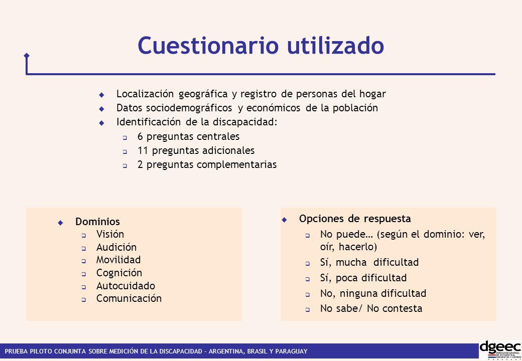 PRUEBA PILOTO CONJUNTA SOBRE MEDICIÓN DE LA DISCAPACIDAD – ARGENTINA, BRASIL Y PARAGUAY Cuestionario utilizado Dominios Visión Audición Movilidad Cognición Autocuidado Comunicación Localización geográfica y registro de personas del hogar Datos sociodemográficos y económicos de la población Identificación de la discapacidad: 6 preguntas centrales 11 preguntas adicionales 2 preguntas complementarias Opciones de respuesta No puede… (según el dominio: ver, oír, hacerlo) Sí, mucha dificultad Sí, poca dificultad No, ninguna dificultad No sabe/ No contesta