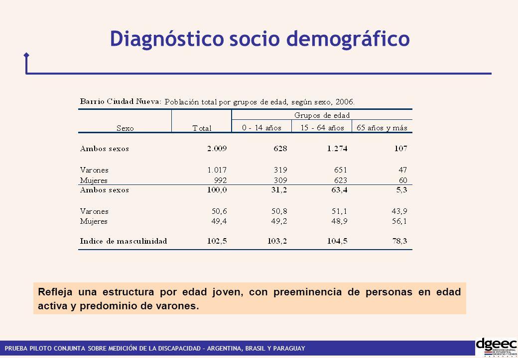 PRUEBA PILOTO CONJUNTA SOBRE MEDICIÓN DE LA DISCAPACIDAD – ARGENTINA, BRASIL Y PARAGUAY Diagnóstico socio demográfico Refleja una estructura por edad joven, con preeminencia de personas en edad activa y predominio de varones.
