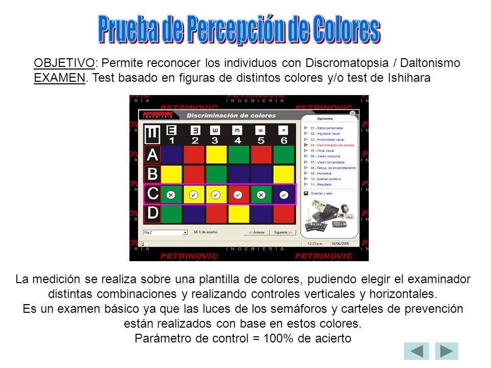 OBJETIVO: Permite reconocer los individuos con Discromatopsia / Daltonismo EXAMEN. Test basado en figuras de distintos colores y/o test de Ishihara La