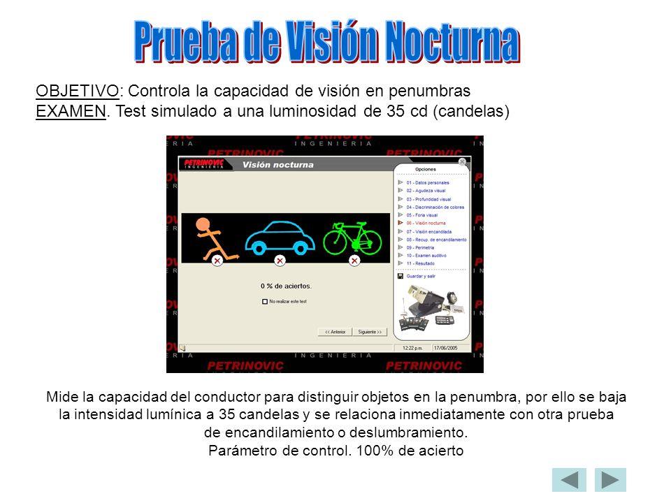 OBJETIVO: Controla la capacidad de visión en penumbras EXAMEN. Test simulado a una luminosidad de 35 cd (candelas) Mide la capacidad del conductor par