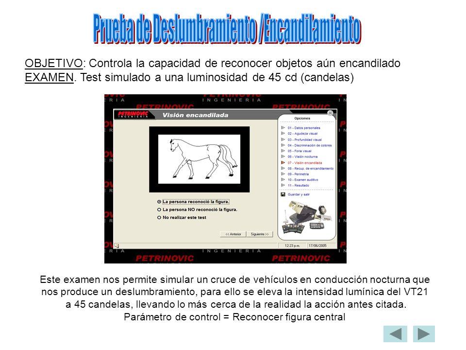 OBJETIVO: Controla la capacidad de reconocer objetos aún encandilado EXAMEN. Test simulado a una luminosidad de 45 cd (candelas) Este examen nos permi