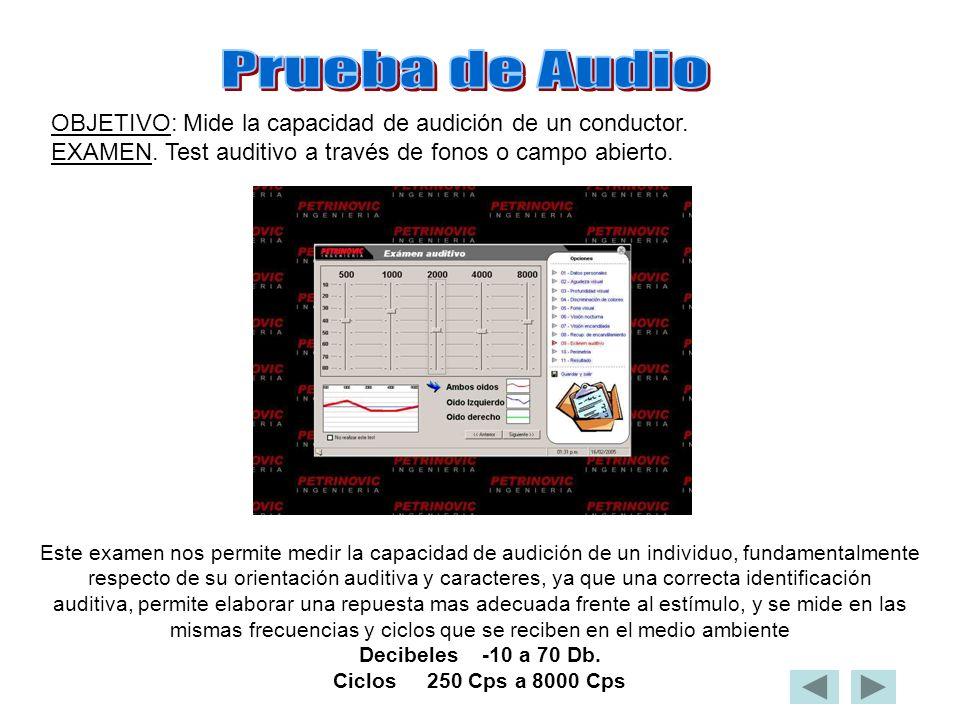 OBJETIVO: Mide la capacidad de audición de un conductor. EXAMEN. Test auditivo a través de fonos o campo abierto. Este examen nos permite medir la cap