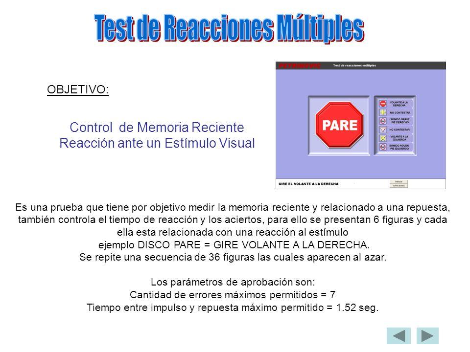 OBJETIVO: Control de Memoria Reciente Reacción ante un Estímulo Visual Es una prueba que tiene por objetivo medir la memoria reciente y relacionado a