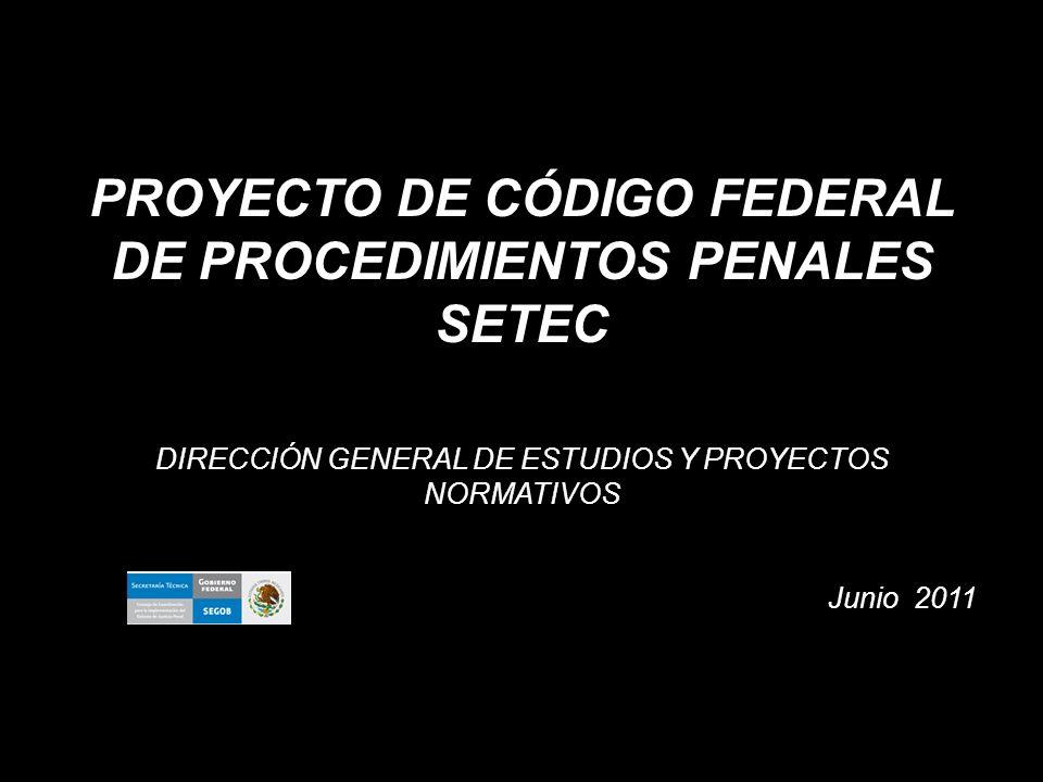 PROYECTO DE CÓDIGO FEDERAL DE PROCEDIMIENTOS PENALES SETEC DIRECCIÓN GENERAL DE ESTUDIOS Y PROYECTOS NORMATIVOS Junio 2011