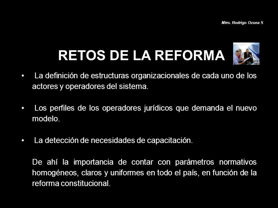 RETOS DE LA REFORMA La definición de estructuras organizacionales de cada uno de los actores y operadores del sistema. Los perfiles de los operadores