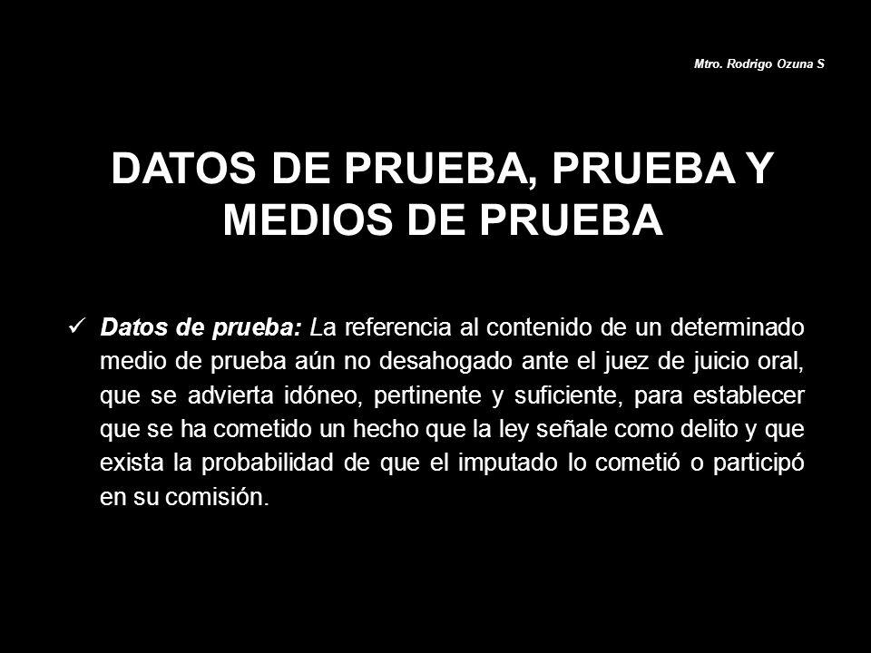 DATOS DE PRUEBA, PRUEBA Y MEDIOS DE PRUEBA Mtro. Rodrigo Ozuna S Datos de prueba: La referencia al contenido de un determinado medio de prueba aún no